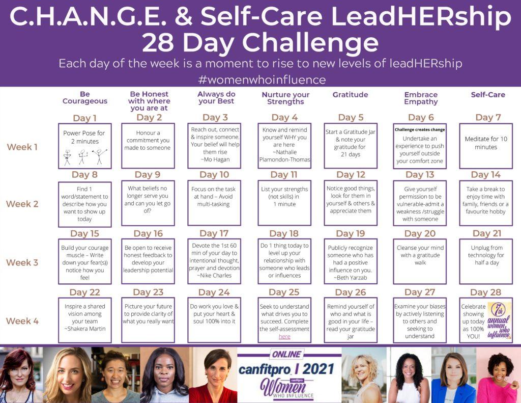 CHANGE and Self-Care Leadership 28 Day Challenge Calendar